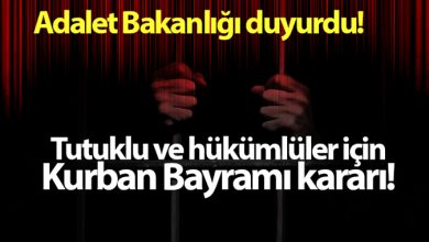 Photo of Adalet Bakanlığı duyurdu! Kurban Bayramı kararı