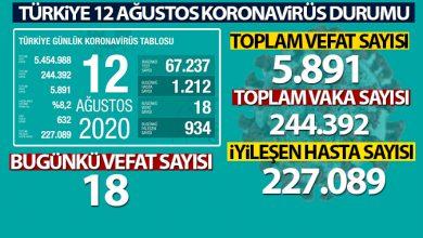 Photo of Türkiye'de son 24 saatte 1.212 kişiye Kovid-19 tanısı konuldu, 18 kişi hayatını kaybetti