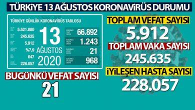 Photo of Türkiye'de son 24 saatte 1.243 kişiye koronavirüs tanısı konuldu, 21 kişi hayatını kaybetti