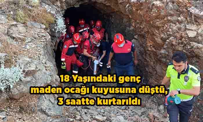 Atıl durumdaki maden ocağı kuyusuna düştü, 3 saatte kurtarıldı