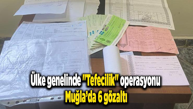 """Ülke genelinde """"Tefecilik"""" operasyonu: Muğla'da 6 gözaltı"""