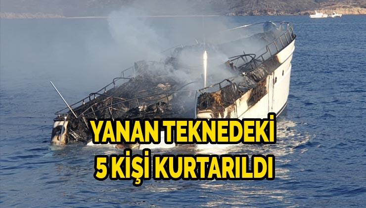 Yanan teknedeki 5 kişi kurtarıldı
